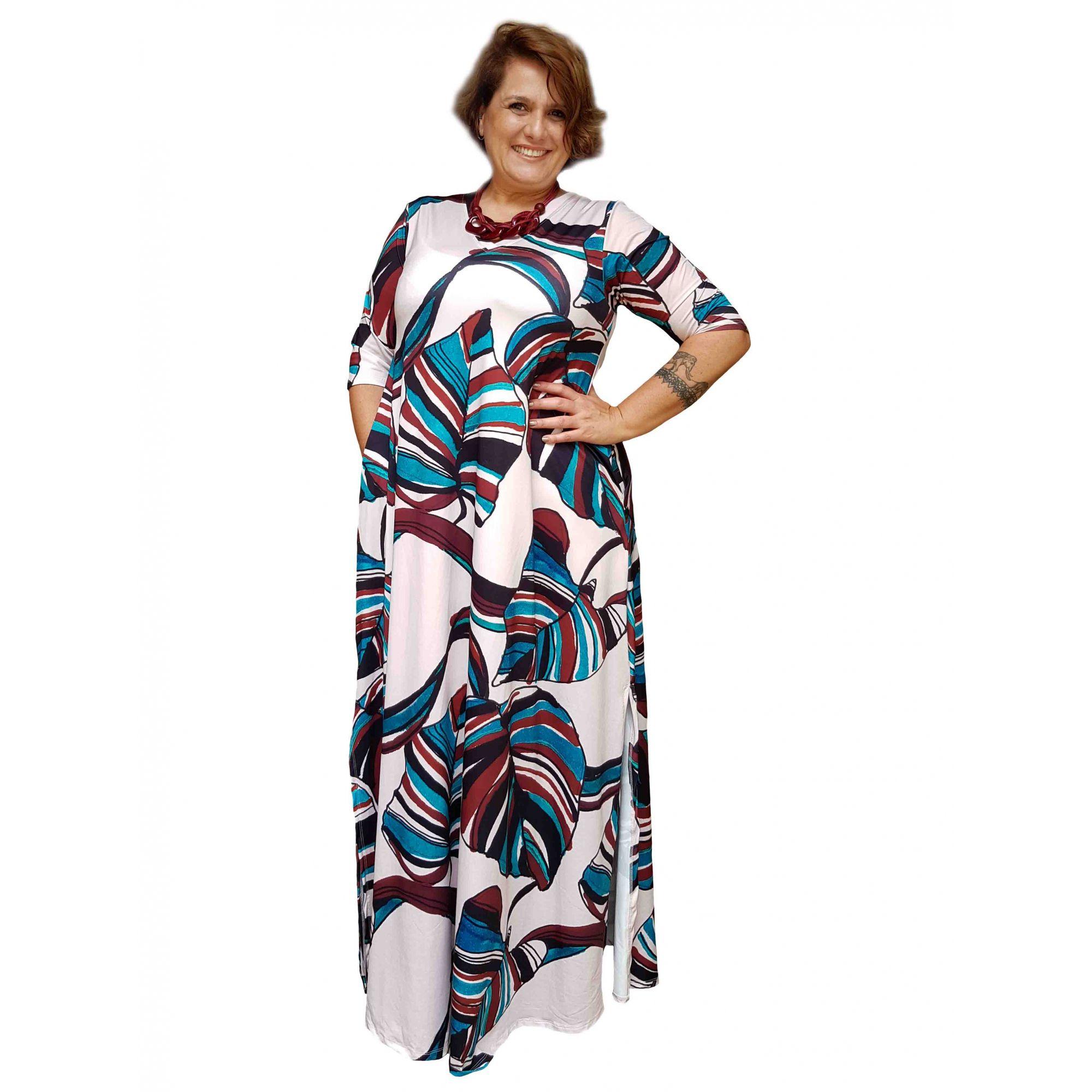 Vestido Longo Estampado Floral Plus Size