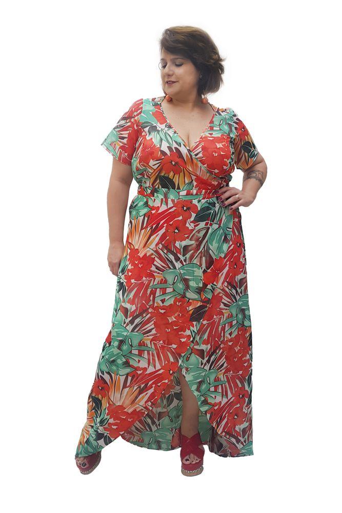 Vestido Longo Floral Verde e Vermelho Plus Size