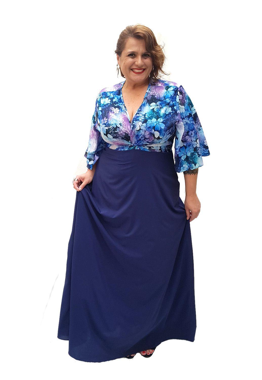Vestido Longo Nó Azul Estampado Plus Size