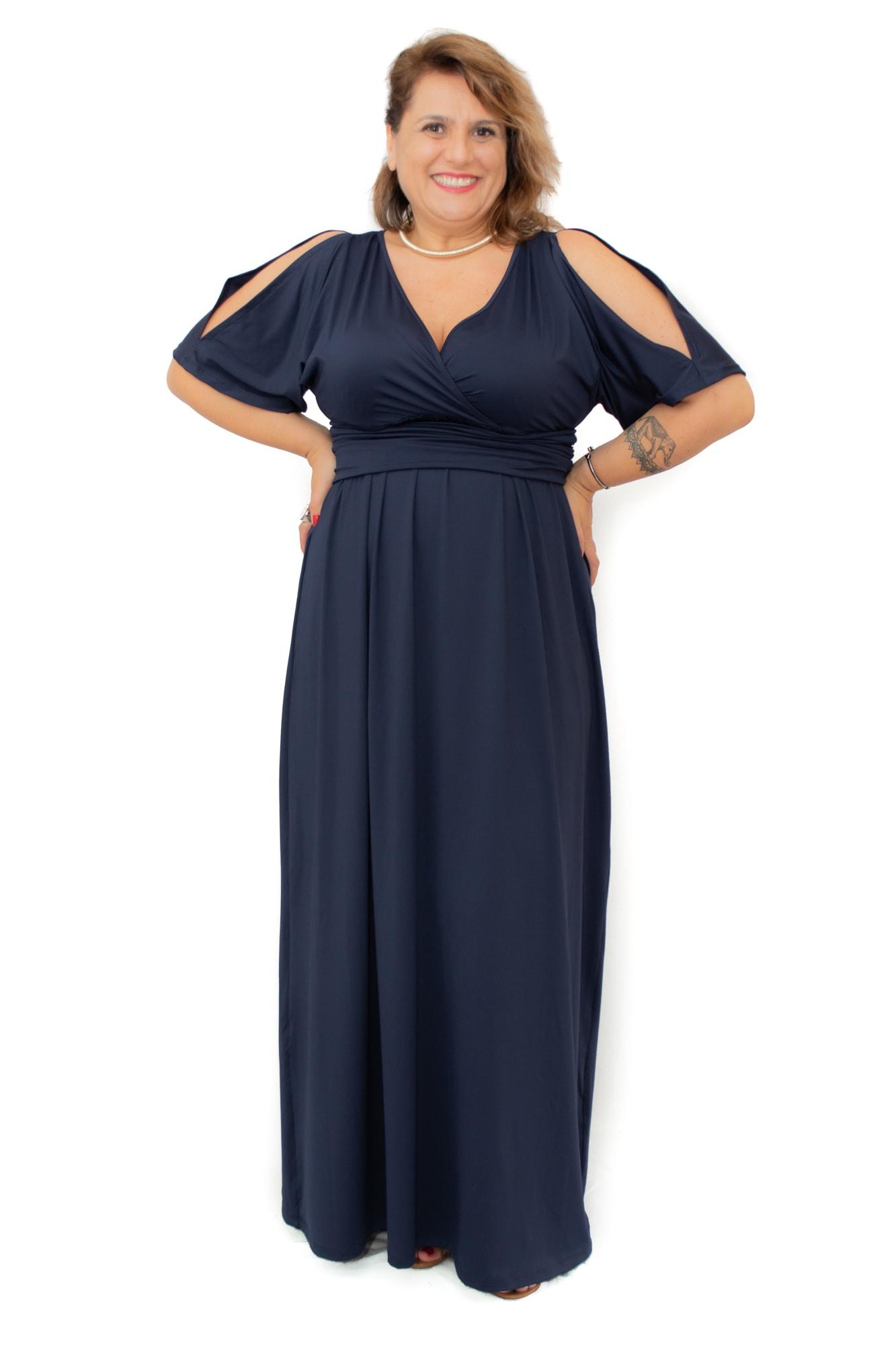 Vestido Longo Plus Size Azul Marinho