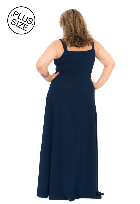 Vestido Longo Plus Size Azul Marinho Crepe