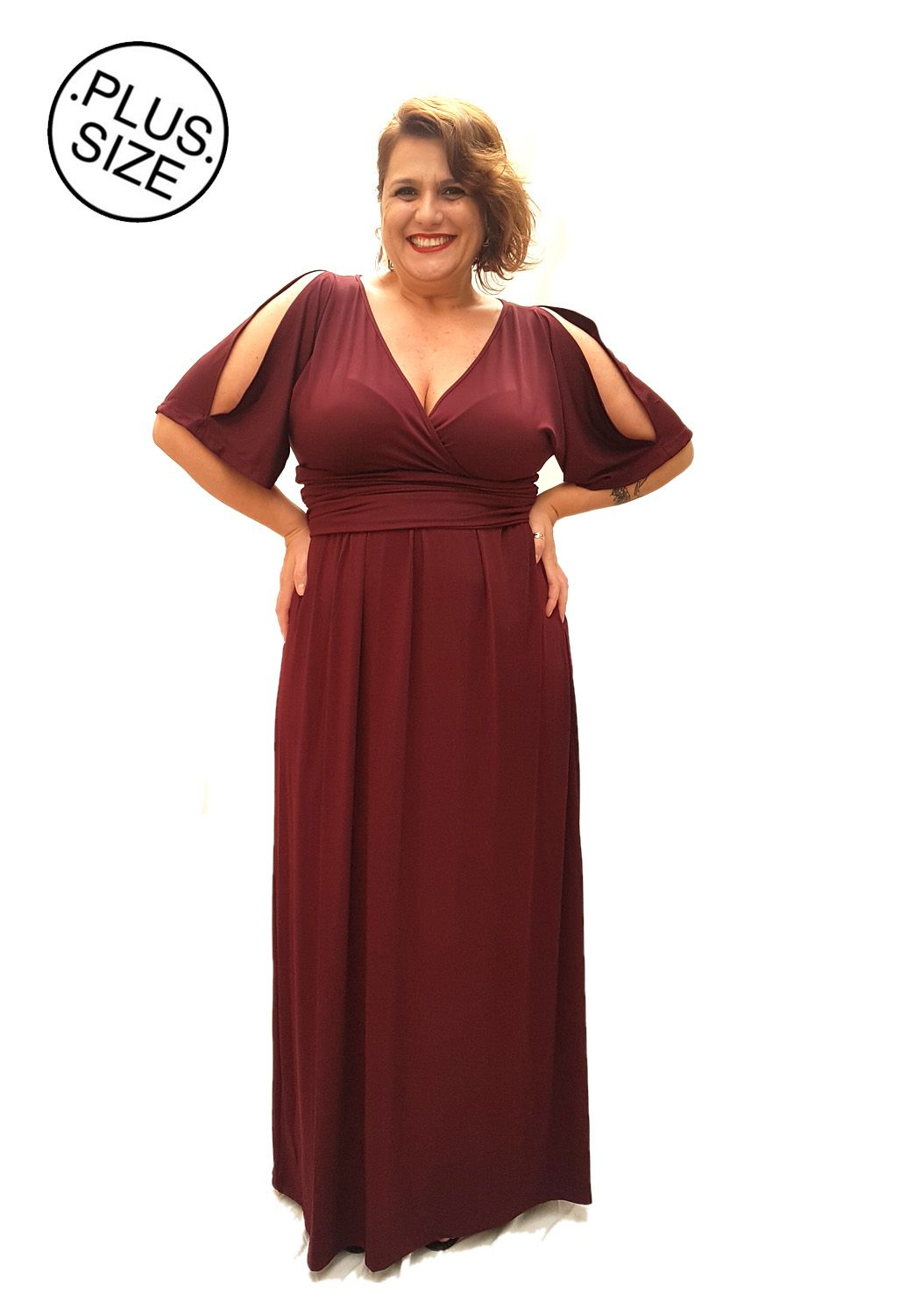 Vestido Longo Plus Size Bordo