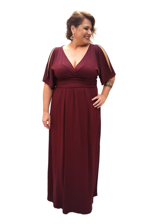 314f978f66 Vestido Longo Plus Size Vermelho de Malha Fria Tecido Poliéster e ...
