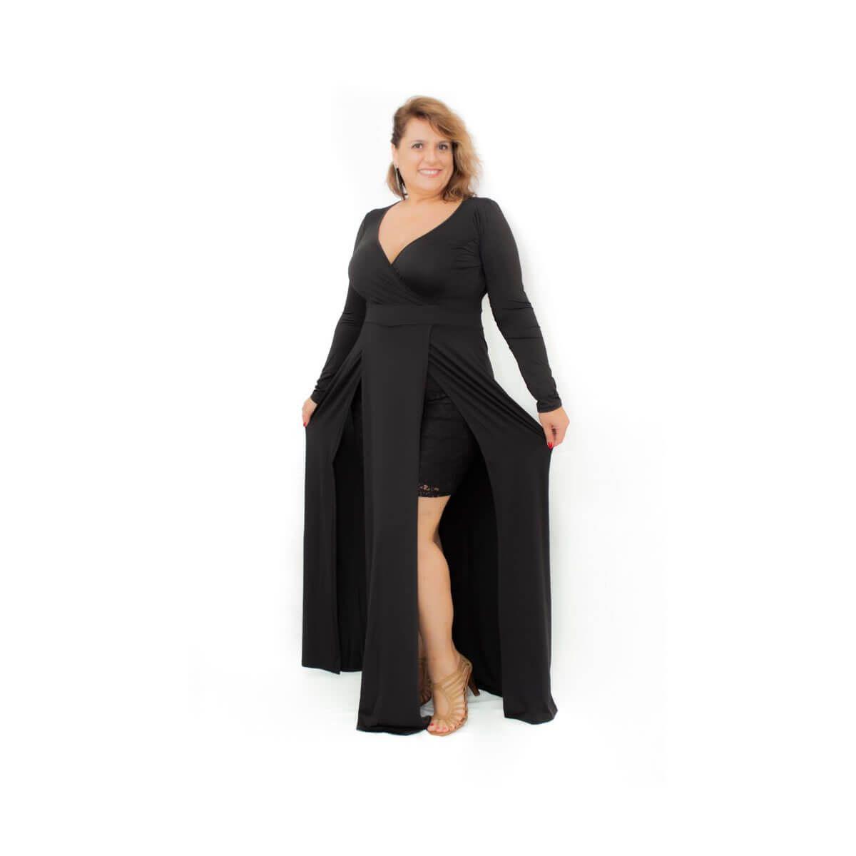 Vestido Longo Plus Size Preto Bia Peca