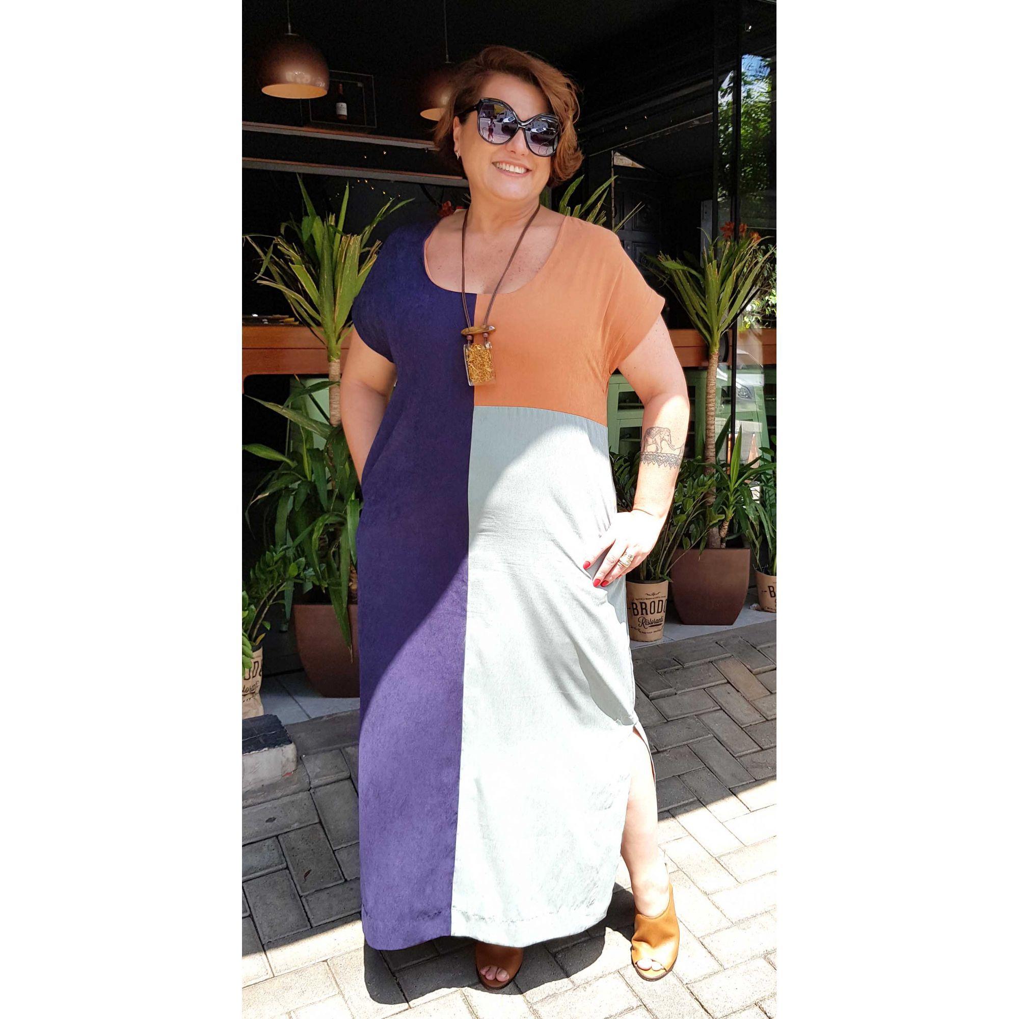 Vestido Longo Plus Size Tricolor