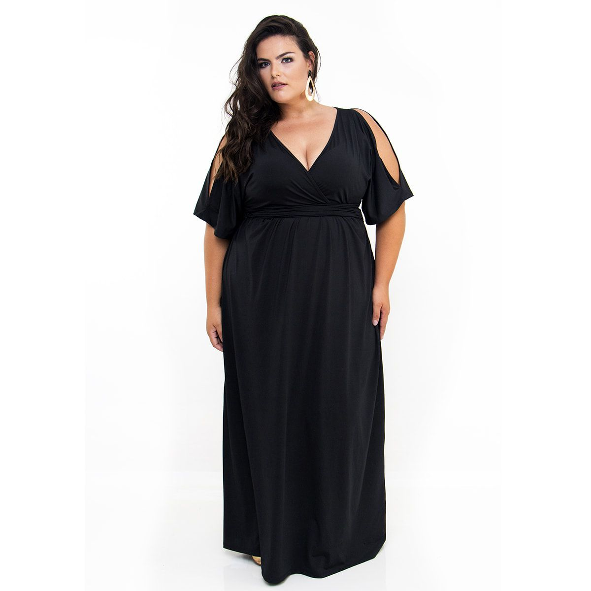 Vestido Longo Plus Size Preto
