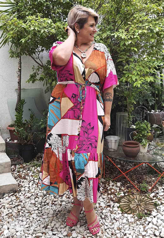 Vestido Midi Plus Size Viscose Estampado