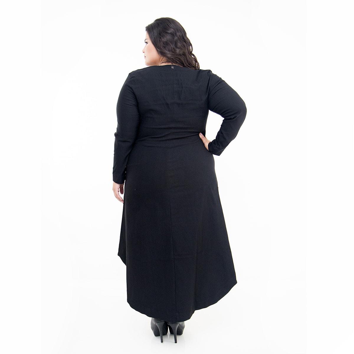 Vestido Curto Plus Size Mullet Poliéster e Elastano