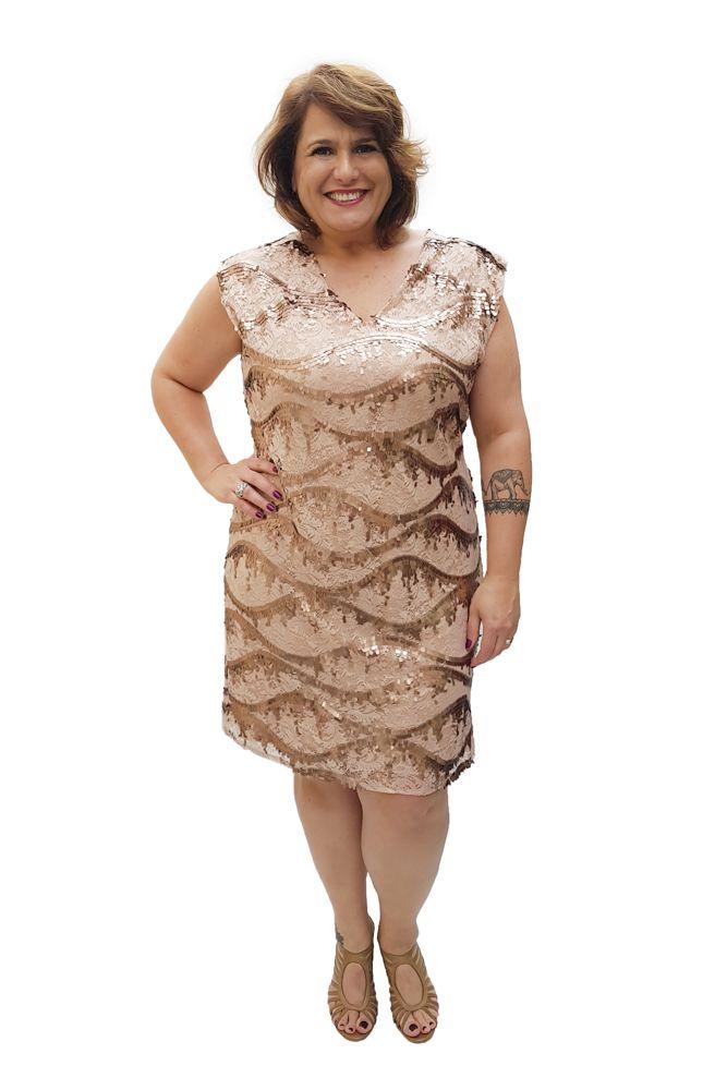 Vestido Curto Paete Plus Size