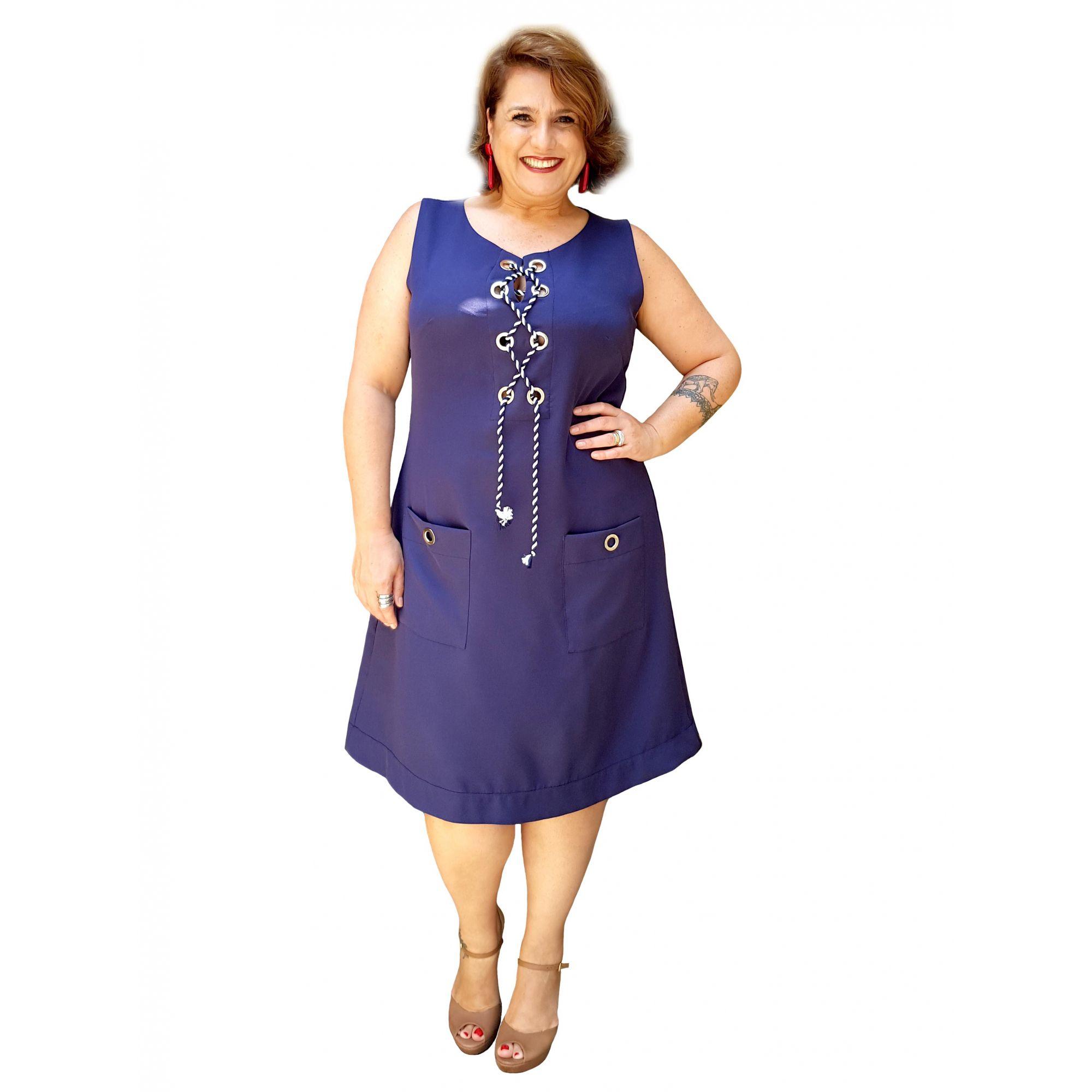 Vestido Plus Size Azul Ilhós Navy