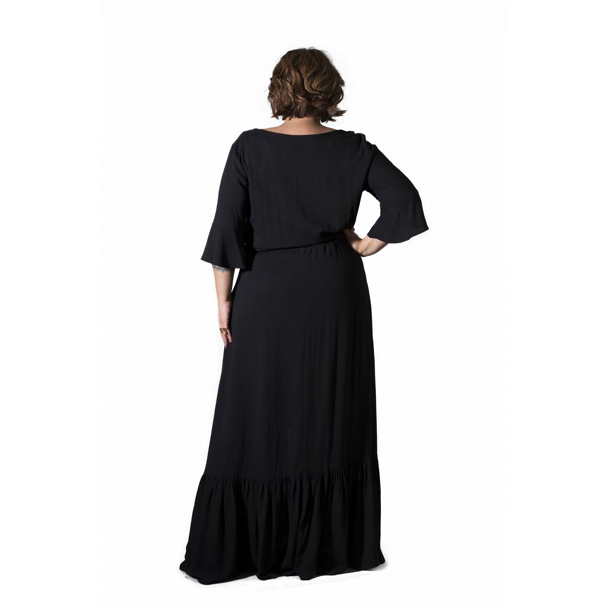 Vestido Plus Size Boho Longo Preto