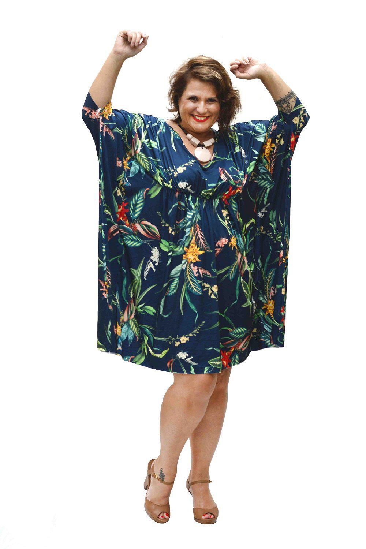 Vestido Plus Size Kaftan Marinho
