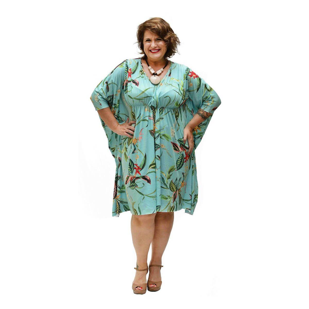 Vestido Curto Plus Size Kaftan Verde