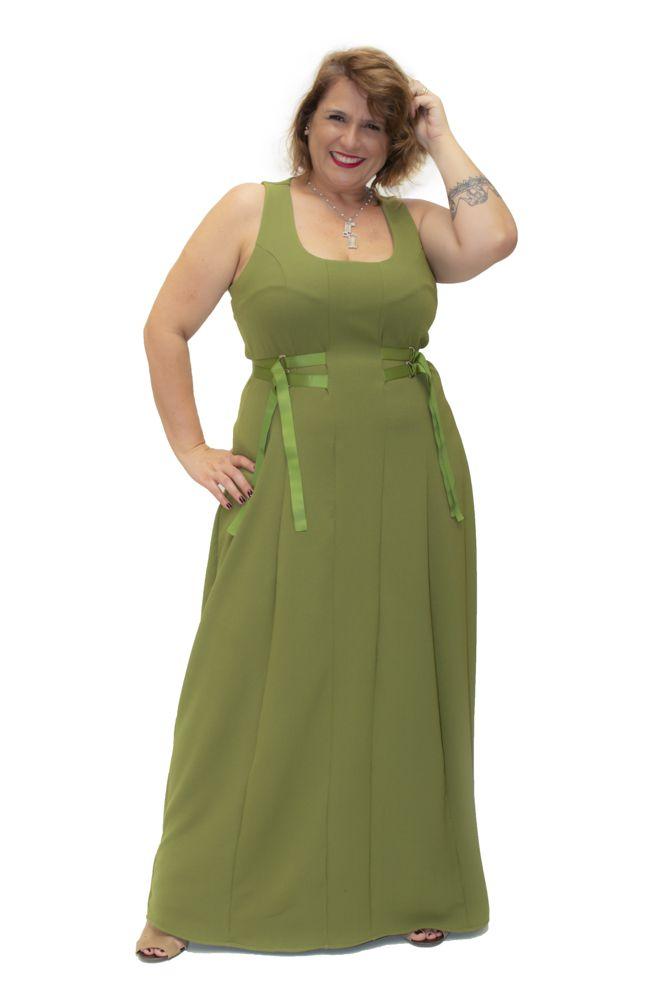Vestido Plus Size Longo Crepe Fitas  Verde