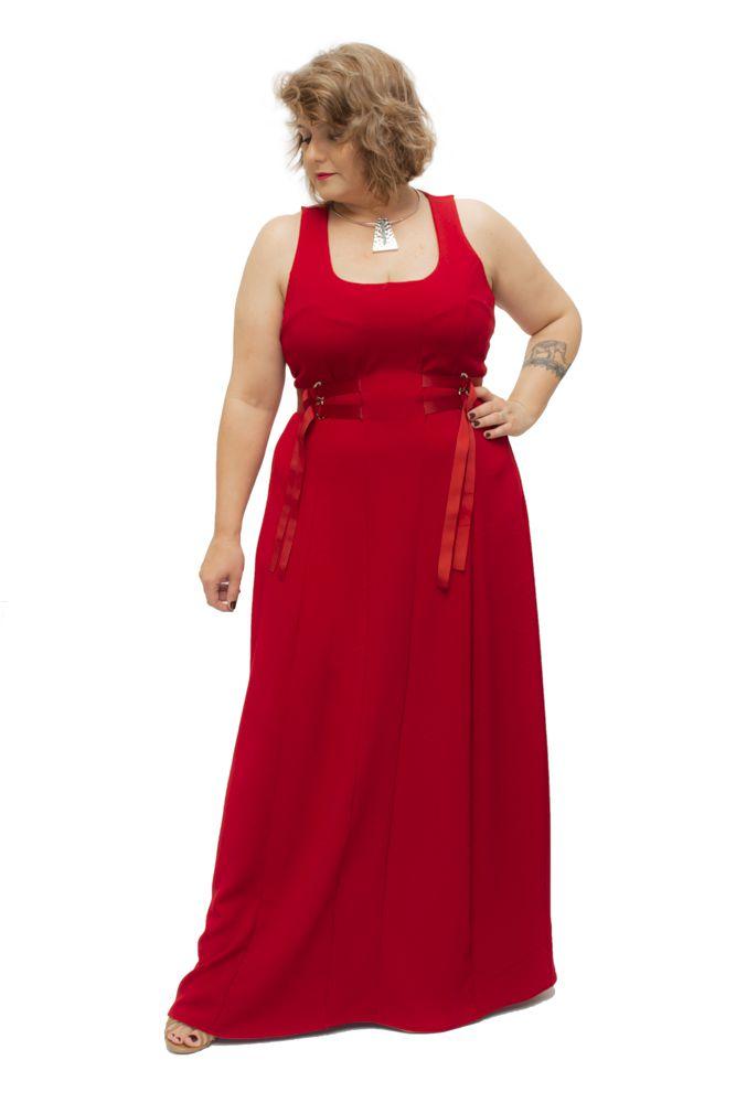 Vestido Plus Size Longo Crepe Fitas  Vermelho