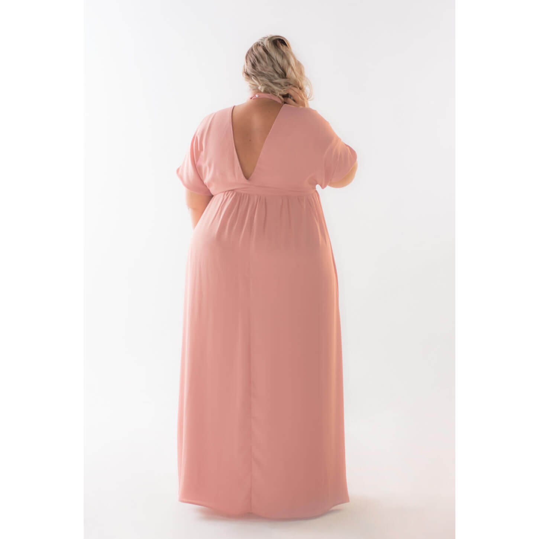 Vestido Plus Size Longo Crepe Flavia Gon