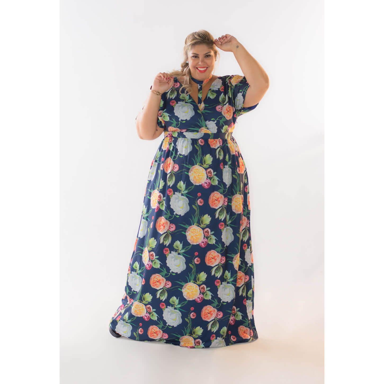 Vestido Plus Size Longo Estampado Flavia Gon