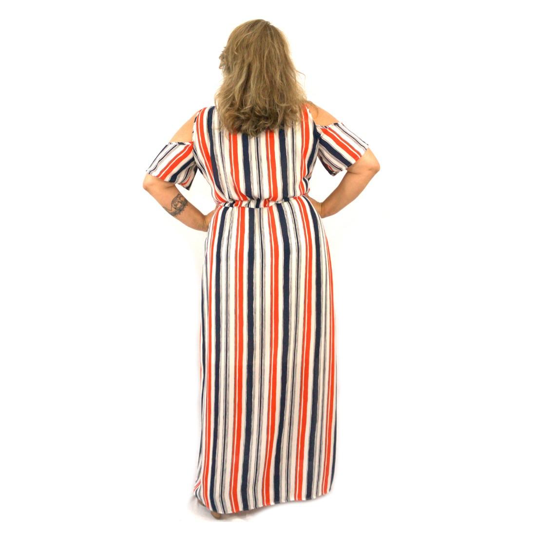 Vestido Plus Size Longo Listrado Crepe Georgete