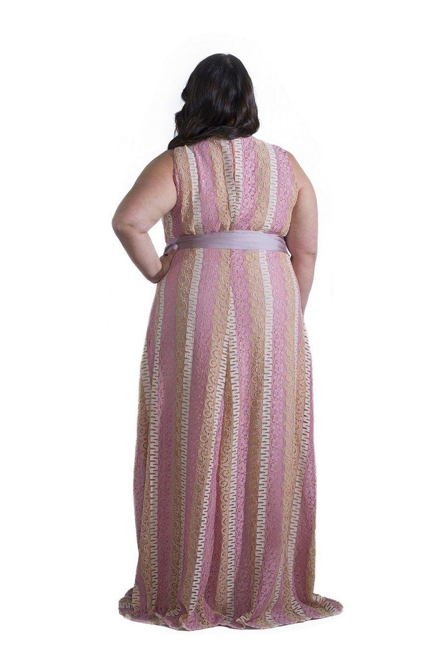 Vestido Plus Size Longo Renda Rose Nude