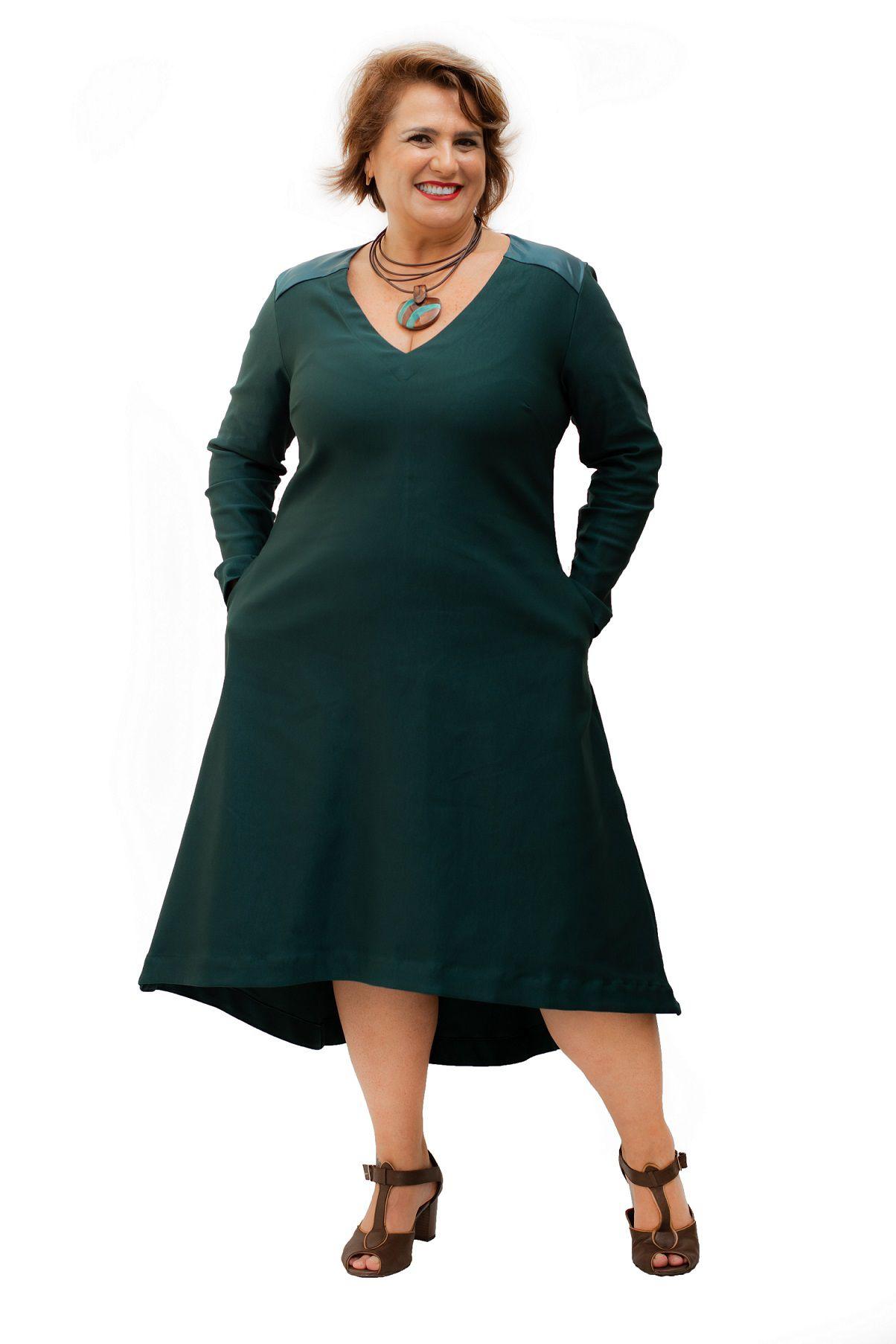 Vestido Curto Plus Size Verde Pala Cirê