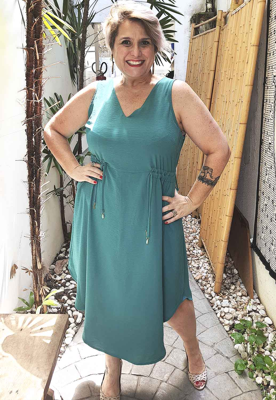 Vestido Regata Midi Plus Size Verde com Elástico