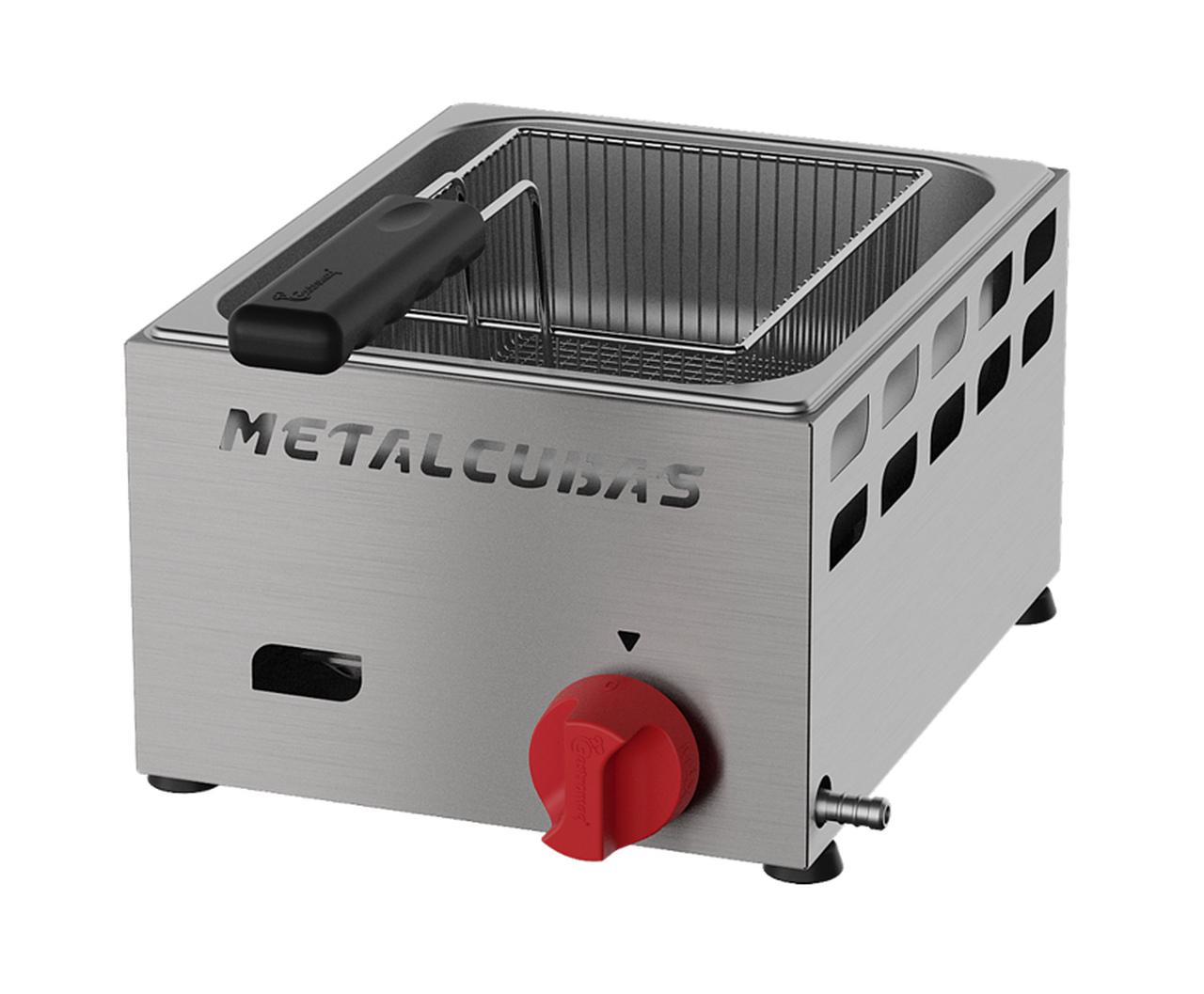 Fritadeira a Gás Baixa Pressão 1 Cuba 3 Litros FRCG 3 Inox Metalcubas