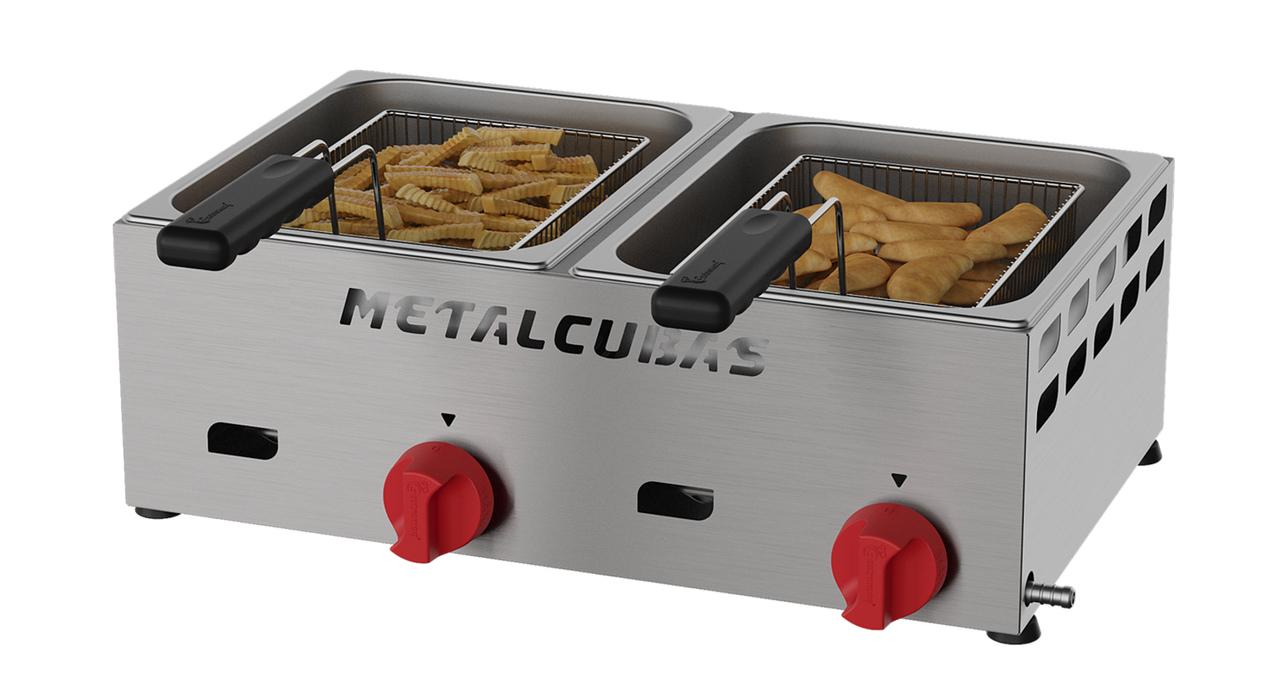 Fritadeira a Gás Baixa Pressão 2 Cubas 3 Litros FRCG 6 Inox Metalcubas