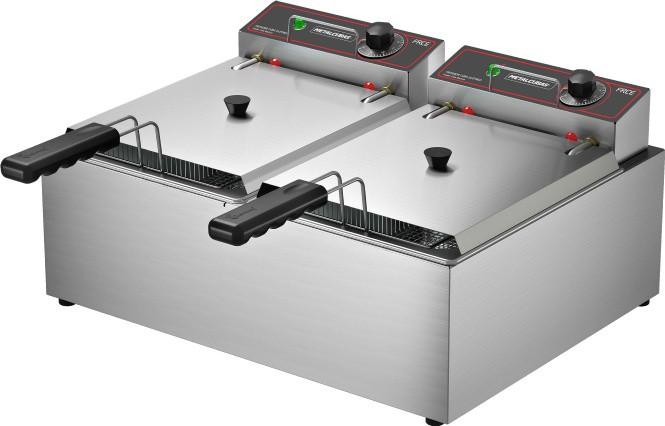 Fritadeira Elétrica 2 Cubas Óleo 10 litros FRCE 10 110v Metalcubas