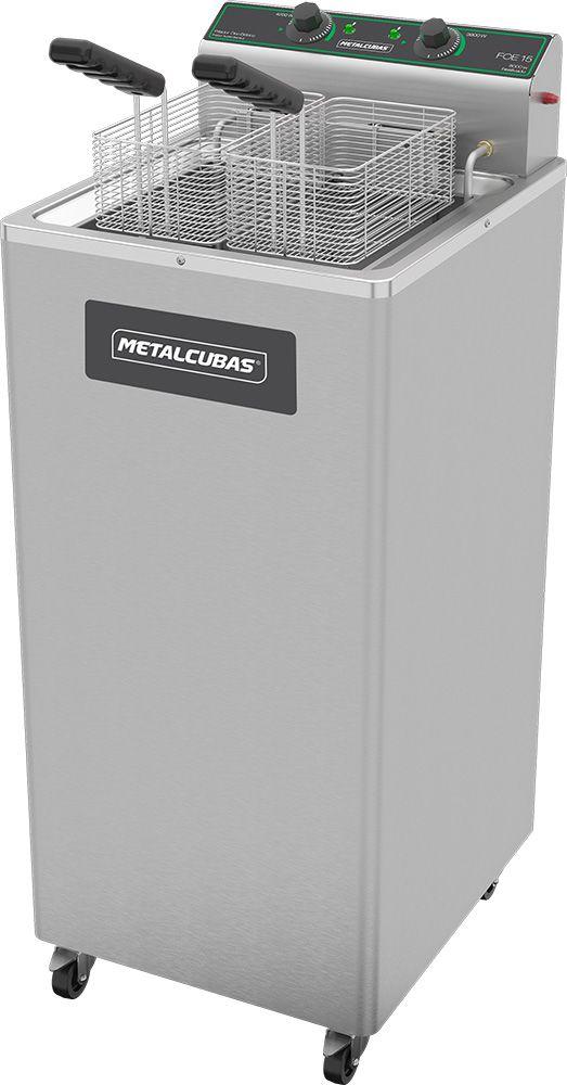 Fritadeira Elétrica Zona Fria de Óleo 15 Litros 8000 W FOE 15 P 220v Metalcubas