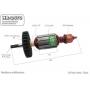 Induzido compatível Makita HR-2470 - Martelete Rotativo - Eixo: 165 mm