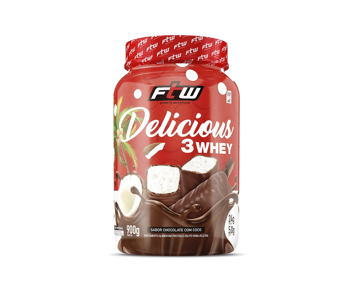 DELICIOUS 3 WHEY CHOCOLATE COM COCO 900G - FTW
