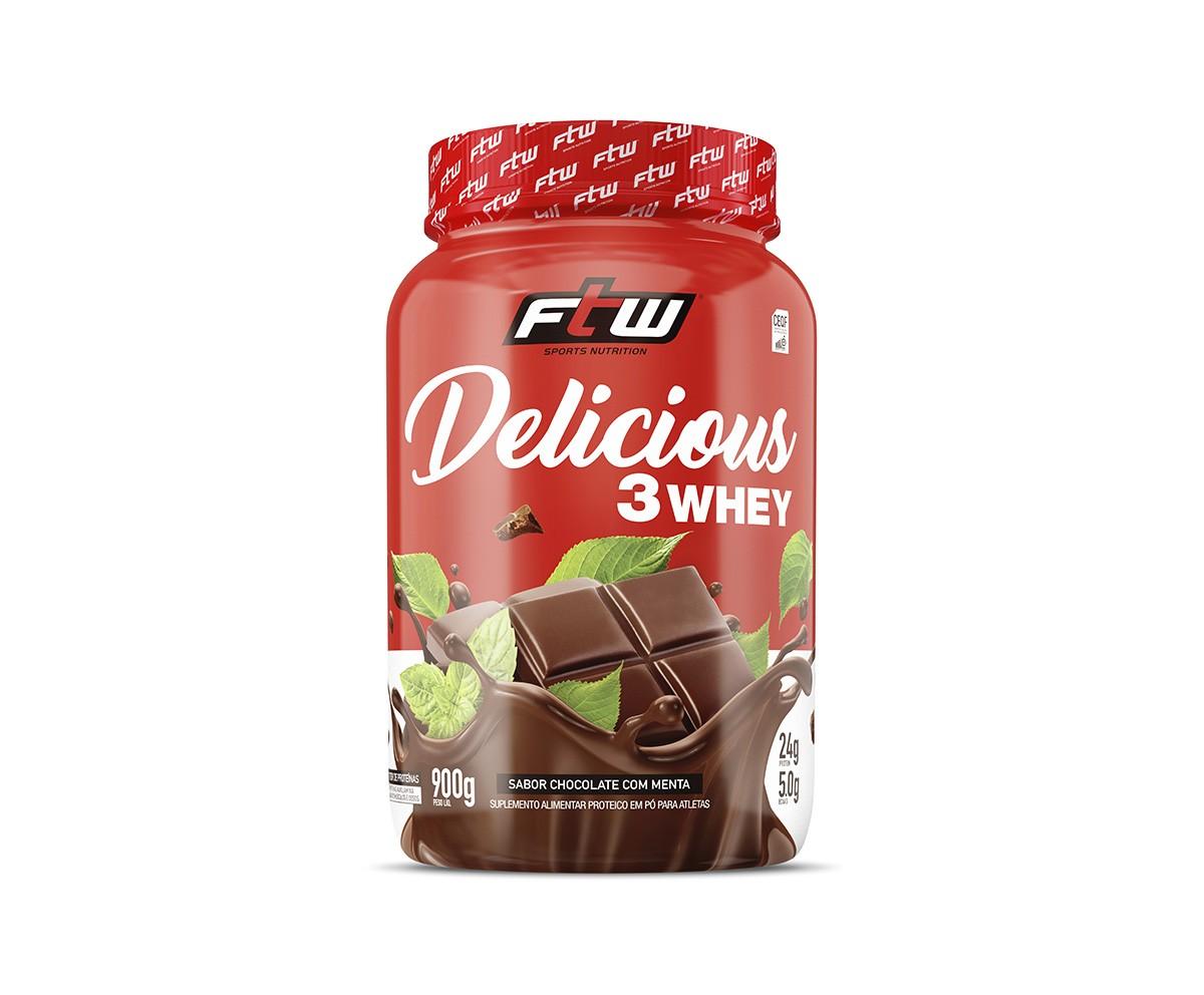 DELICIOUS 3 WHEY CHOCOLATE COM MENTA  900G - FTW