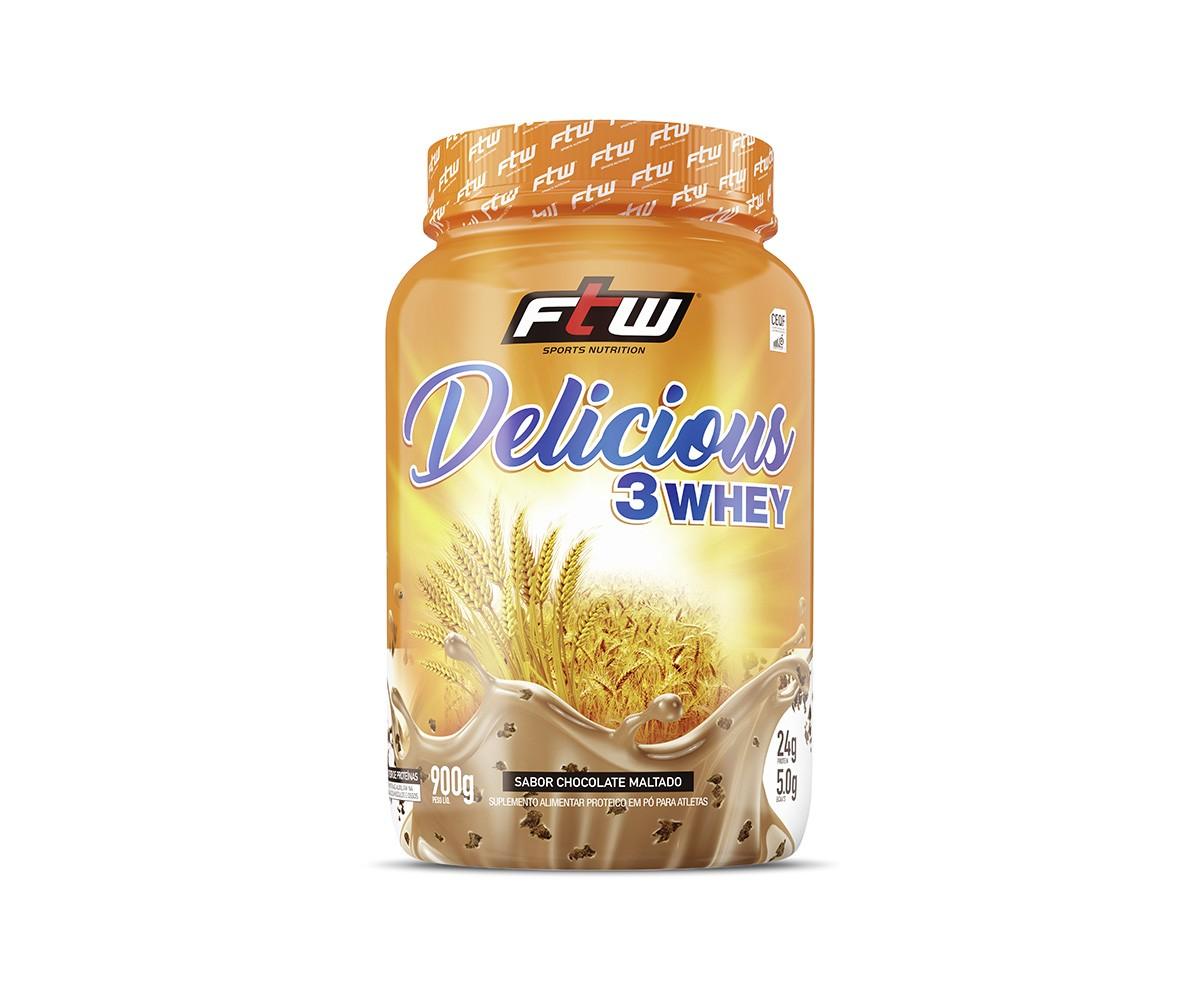 DELICIOUS 3 WHEY CHOCOLATE MALTADO 900G - FTW