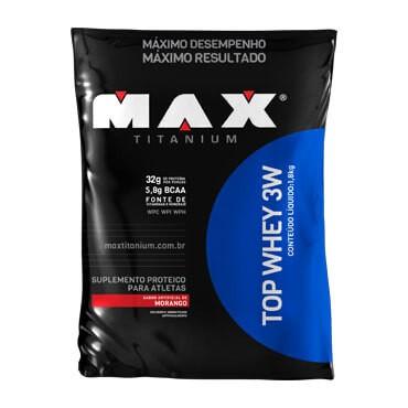TOP WHEY 3W 1,8kg  SABOR MORANGO - MAX TITANIUM