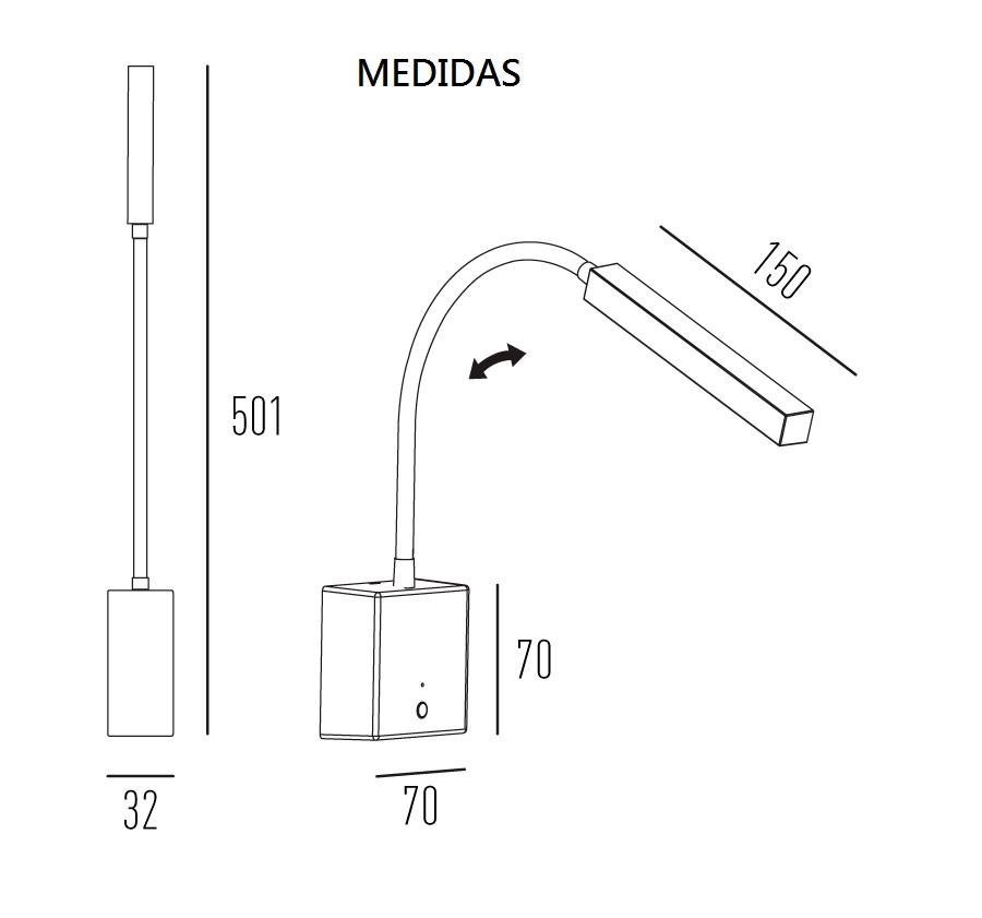 ARANDELA SNAKE FLEXÍVEL LED 2W 3000K DIMMER E USB - 4146W-BM INTERLIGHT