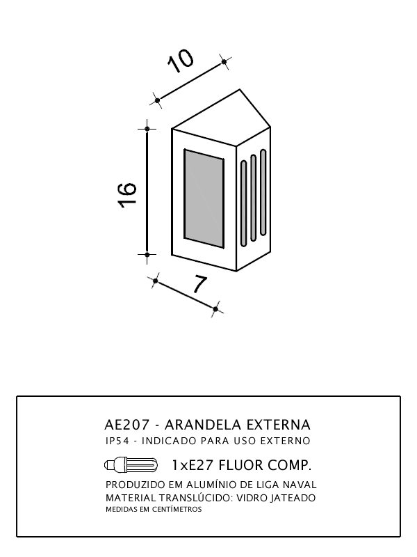 ARANDELA RETANGULAR C/FILETOS DE LUZ 16X10X7CM E27 - AE207 - FELLUZ