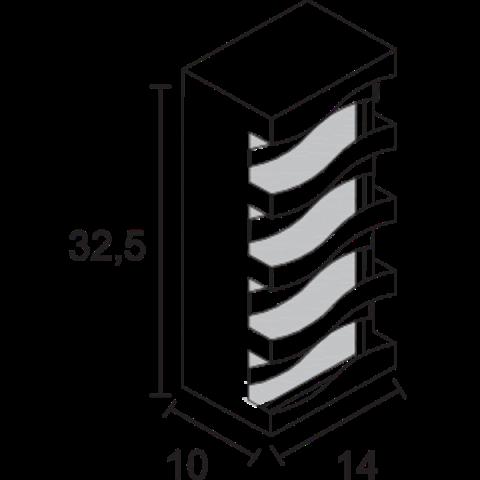 ARANDELA RETANGULAR ONDULADA C/VIDRO BCA/MARROM- AE613 - FELLUZ
