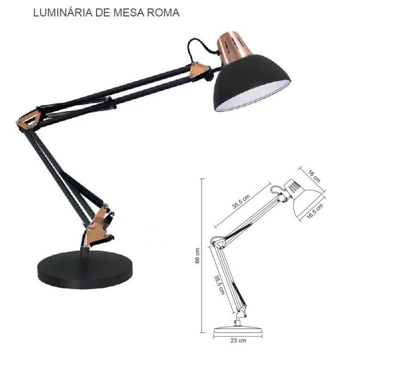 LUMINÁRIA DE MESA ROMA COM BASE PRETA - LMR10116 G20