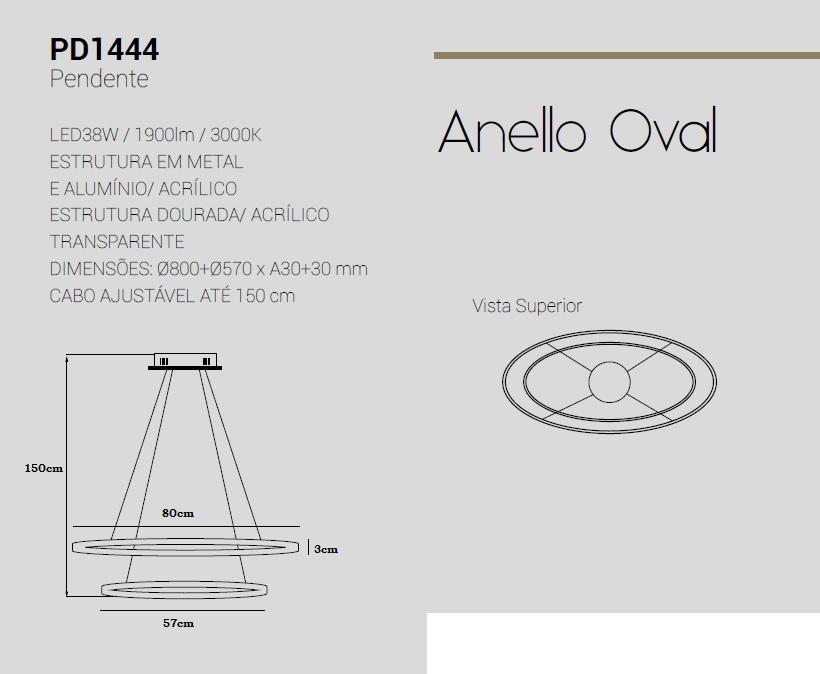 PENDENTE ANELLO OVAL DOURADO 2 ANEIS LED 38W 3000K 2250LM BIVOLT 80X57CM -  PD1444 STUDIOLUCE