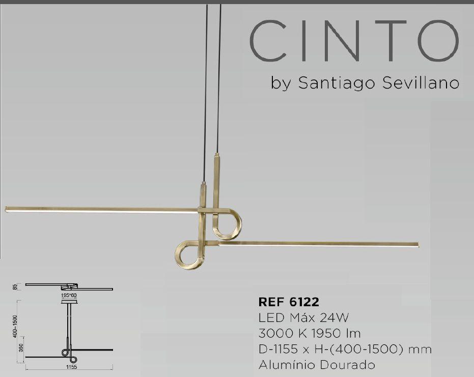 PENDENTE CINTO DOURADO LED 24W 3000K BIVOLT - 6122 MANTRA