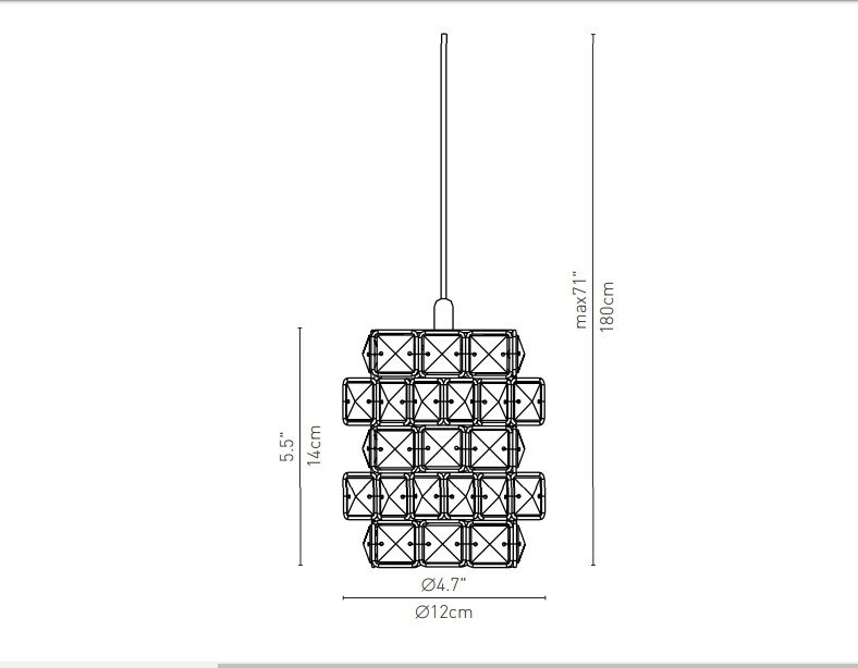 PENDENTE CUBICUS CRISTAL LED 5W 3000K CROMADO 41C1CR - CHANDELIE