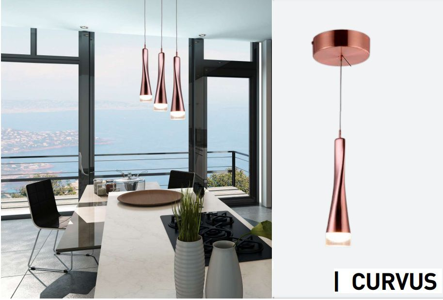 PENDENTE CURVUS LED 5W 3000K COBRE BIVOLT 88C1CO - CHANDELIE