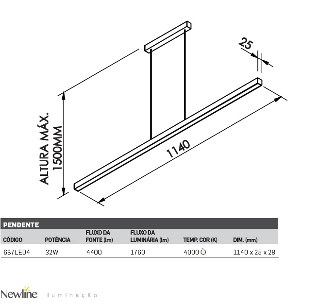 PENDENTE FIT LED 32W 4000K 1760Lm, BIVOLT - 637LED4 NEW LINE