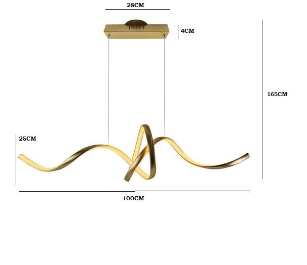 PENDENTE LACE LED 36W 1500LM 3000K BIVOLT 100x25x25cm - QUALITY