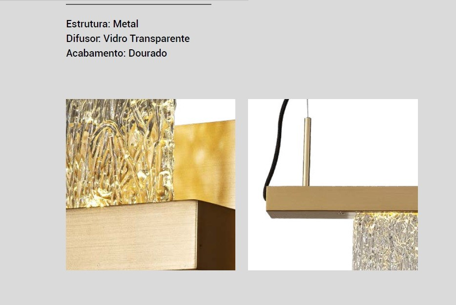 PENDENTE LACTITE DOURADO LED 4,5W 3000K 400LM BIVOLT -  PD1412/1413 STUDIOLUCE