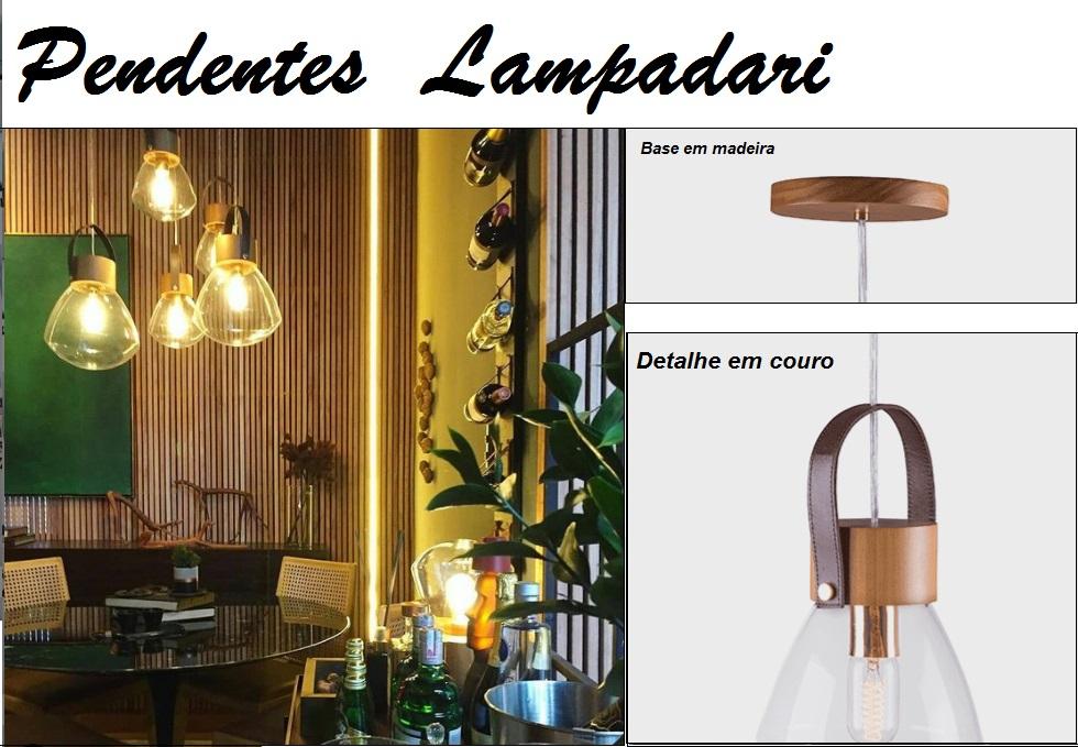 PENDENTE LAMPADARI VIDRO CRISTAL COM MADEIRA E COURO - MADELUSTRE