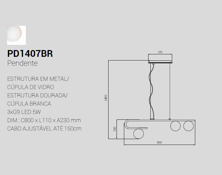 PENDENTE LATICIUS DOURADO/BRANCO 3xG9 80CM - PD1407 STUDIOLUCE