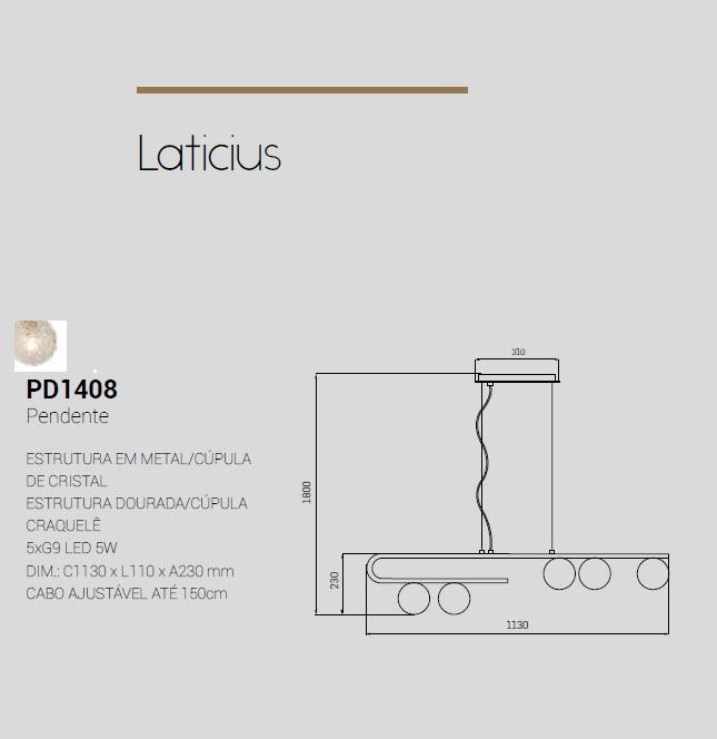 PENDENTE LATICIUS DOURADO/CRAQUELADO 5xG9 1130CM - PD1408 STUDIOLUCE