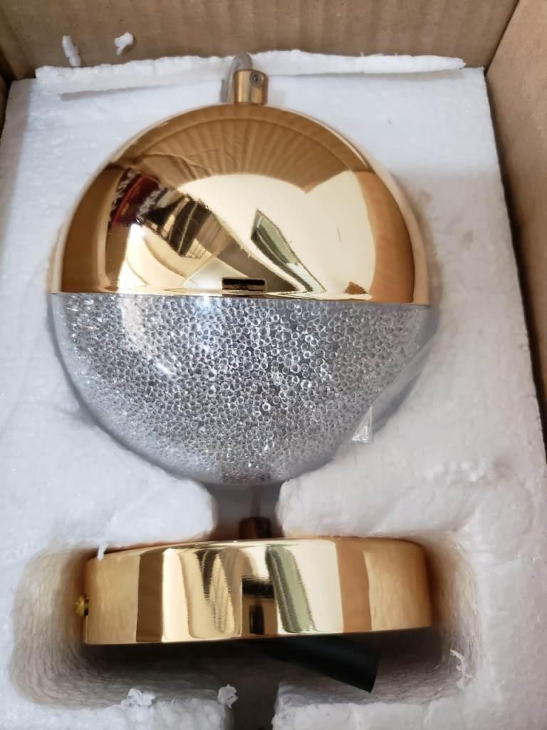 PENDENTE MEDIA LUNA FRENCH GOLD E TRANSPARENTE 12CM 1XLED 6W -HM003 BELLA ILUMINAÇÃO