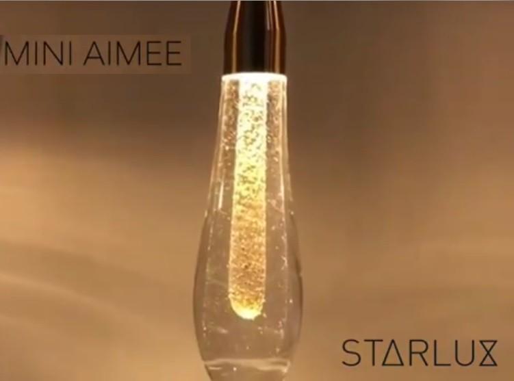 PENDENTE MINI AIMEE LED 2W DOURADO COM VIDRO GOTA - ZR037-S STARLUX